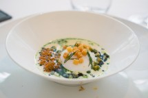 poached egg in smoked salmon broth - The Modern